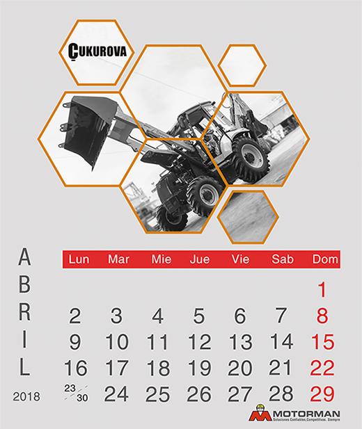 Calendario 2018 - Abril- Ventas de Maquinarias Pesada , Mediana y Compacta en Motorman
