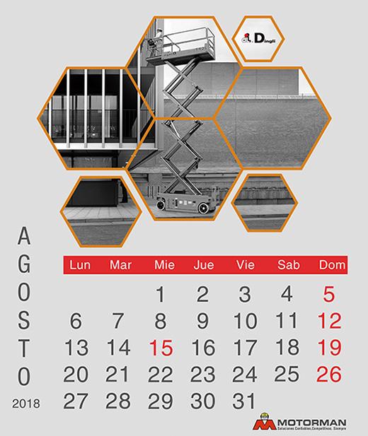 Calendario 2018 - Agosto - Ventas de Maquinarias Pesada , Mediana y Compacta en Motorman