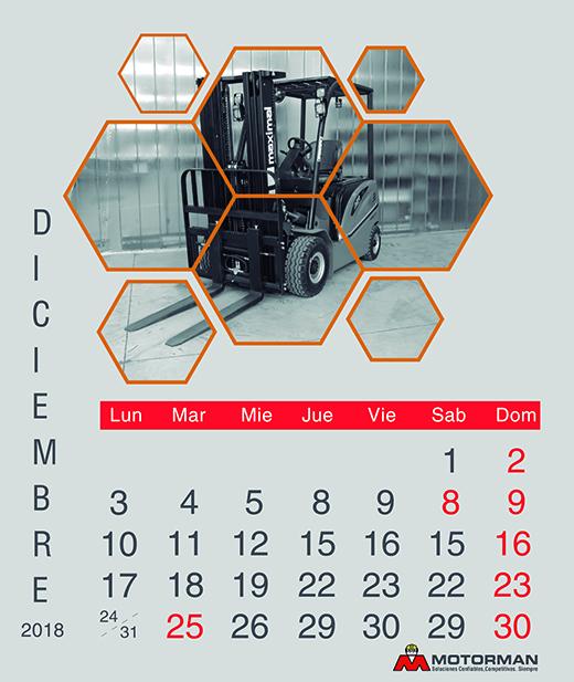 Calendario 2018 - diciembre - Ventas de Maquinarias Pesada , Mediana y Compacta en Motorman