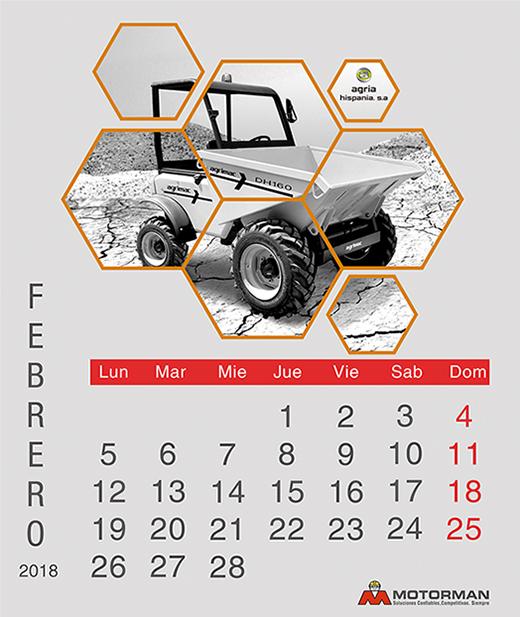 Calendario 2018 - Febrero - Ventas de Maquinarias Pesada , Mediana y Compacta en Motorman