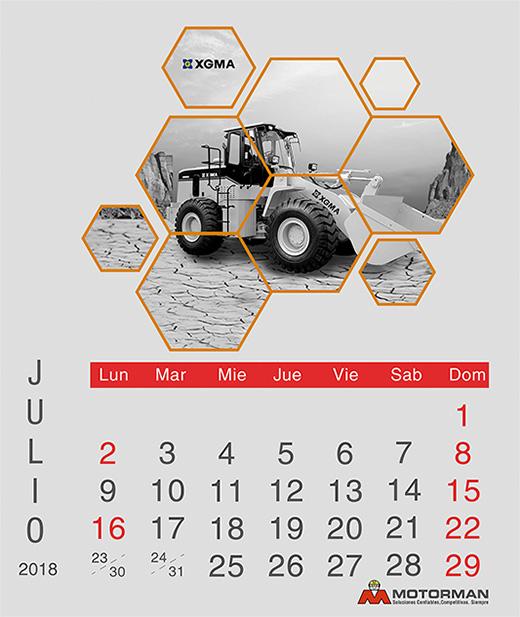 Calendario 2018 - Julio - Ventas de Maquinarias Pesada , Mediana y Compacta en Motorman