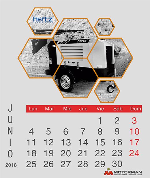 Calendario 2018 - Junio - Ventas de Maquinarias Pesada , Mediana y Compacta en Motorman