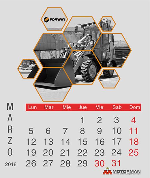 Calendario 2018 -MArzo - Ventas de Maquinarias Pesada , Mediana y Compacta en Motorman