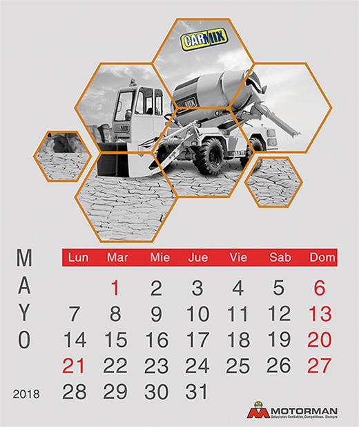 Calendario 2018 - Mayo - Ventas de Maquinarias Pesada , Mediana y Compacta en Motorman