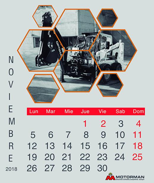 Calendario 2018 - Noviembre - Ventas de Maquinarias Pesada , Mediana y Compacta en Motorman