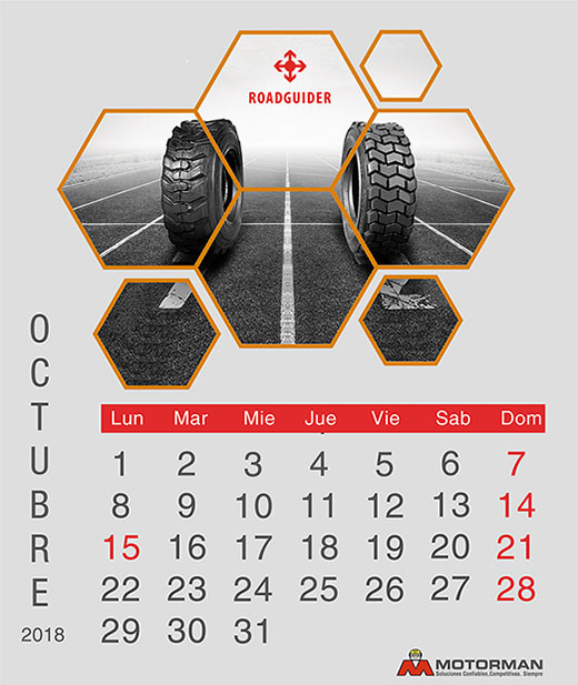 Calendario 2018 - Octubre - Ventas de Maquinarias Pesada , Mediana y Compacta en Motorman