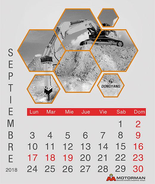 Calendario 2018 - Septiembre - Ventas de Maquinarias Pesada , Mediana y Compacta en Motorman
